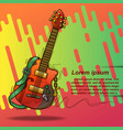 poster guitar in sketching style and text vector image