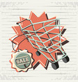retro store label with shopping cart vector image vector image