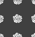 rose icon sign Seamless pattern on a gray vector image
