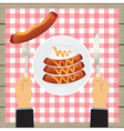 Sausages on a plate and hand with a knife vector image