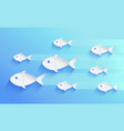 school fish silhouette isolated on blue vector image vector image