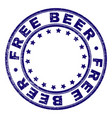 scratched textured free beer round stamp seal vector image vector image