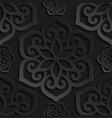seamless pattern black 3d paper mandala vector image vector image