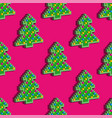 seamless pattern christmas pixel tree on pink vector image