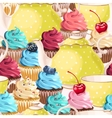 Seamless teacups and cupcakes vector image vector image