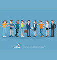 set of flat design people characters vector image