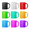 set of mugs of various colors eps10 vector image