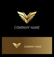 sharp gold wing emblem logo vector image