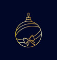 simple golden christmas tree ball with ribbon vector image vector image