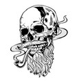skull pipe old man vector image vector image