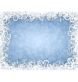 Snowflakes frame on frosty background vector image vector image