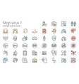 stop virus outline colored iconset part 1 vector image vector image