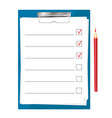 tablet for papers with a checklist vector image