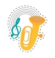 tuba wind brass music instrument dotted line vector image vector image