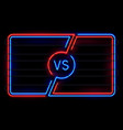 versus neon frame sport battle glowing lines vector image