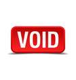 void red 3d square button isolated on white vector image vector image