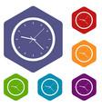 wall clock icons set hexagon vector image vector image