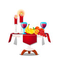 wooden table with fresh ripe fruit burning vector image