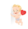 Cute cupid with valentine card holding a large vector image