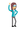 cute woman with hand up and glasses vector image