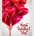 flying bunch of red balloon hearts happy vector image