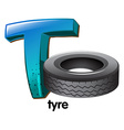 A letter T for tyre vector image