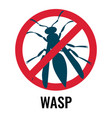 anti wasp sign with icon of fly vector image vector image