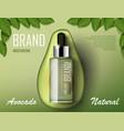 avocado cosmetics oil template ad organic product vector image vector image