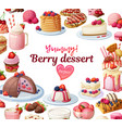 berry desserts collection cartoon vector image vector image