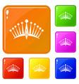 big crown icons set color vector image vector image