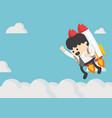 businessman flying on a rocket on blue sky vector image vector image