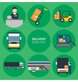 cargo delivery icon set vector image