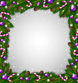 Christmas tree frame and candy canes vector image vector image