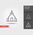 Church line icon with shadow and editable stroke