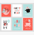 cute christmas cards with animals celebrating vector image vector image