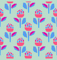 cutout paper flowers bold bright seamless pattern vector image