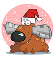 Dog Wearing A Santa Hat vector image vector image