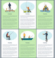 fishing hobby posters people vector image vector image