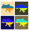 flag map of ukraine vector image vector image