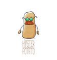 funny cartoon cute brown hipster potato vector image