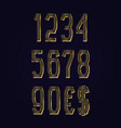 golden striped numbers with currency signs of vector image