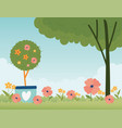 happy spring potted plant flowers tree floral vector image