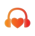 Headphones with heart Orange applique isolated vector image vector image