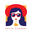 hello summer card with girl in sunglasses vector image vector image
