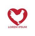 hen heart shape logo design vector image vector image