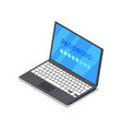 laptop with password isometric 3d icon vector image
