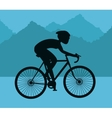 Man riding bike and mountain background design vector image