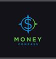 minimalist money and compass logo icon vector image