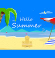 night beach background and hello summer typography vector image vector image