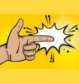 pop art strong man hand show finger pointer vector image vector image